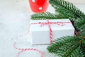 christmas background with  fir branc