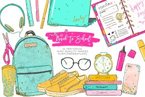 Back to School planner clipart