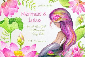 Mermaid & Lotus Watercolor Clip Art