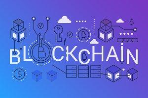 Blockchain word concept template