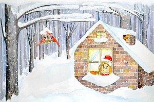 Cute Winter Holidays Illustration