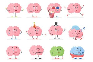Brain character emoticons set