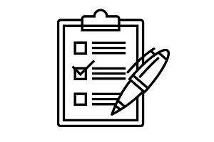 checklist web icon with pen. Vector