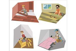 Floor interior making workers set