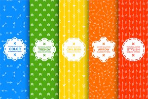 Seamless colorful arrow patterns