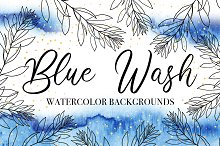 Blue Wash Watercolor Backgrounds