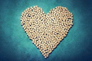 Big heart made from little wooden he