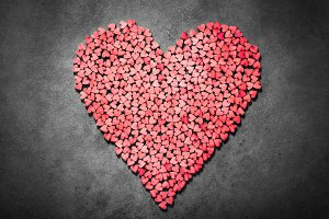 Big red heart made from little heart