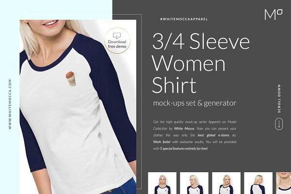 3/4 Sleeve Women Shirt Mock-ups DEM…
