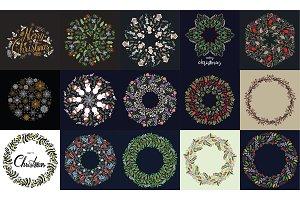 60 Christmas Wreath Vector