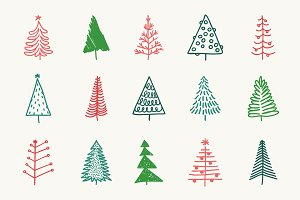 Doodle Christmas Trees and Patterns