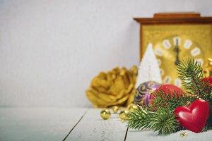 Christmas decoration on wooden backg