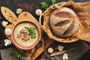 Cream of mushroom soup with homemade