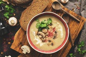 Winter warming soup. Mushroom cream