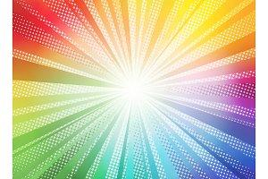 Comic color gradient sun rays