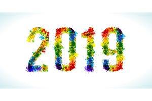 2019 year paint splashes