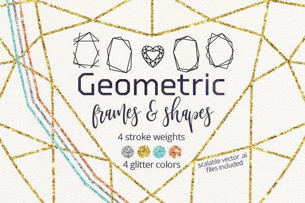Geometric frames glitter shapes