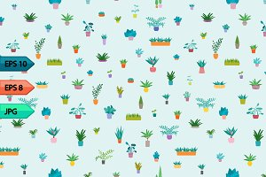 Indoor home plants seamless pattern