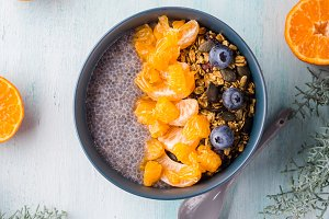 Chia pudding with tangerines and
