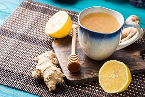 Lemon ginger hot tea drink with