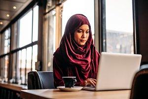 Businesswoman in hijab working