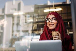 Beautiful muslim woman relaxing