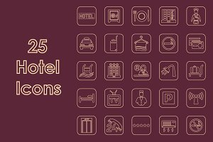 25 HOTEL simple icons