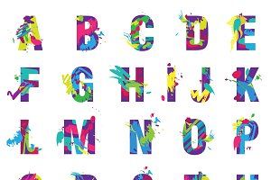 Painted splashes alphabet font
