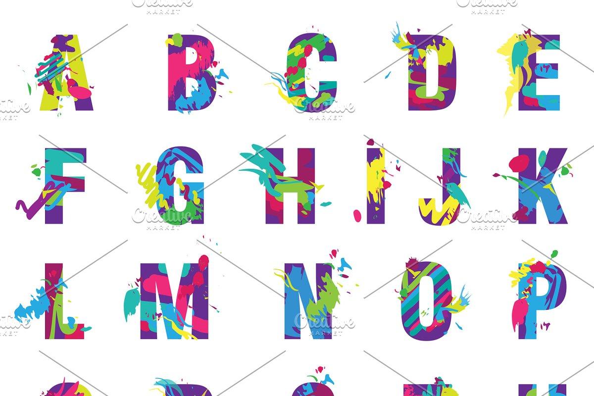 Painted splashes alphabet font