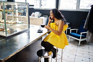 Stylish african american woman at ye