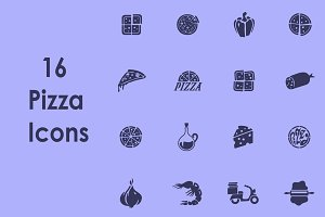 16 PIZZA simple icons
