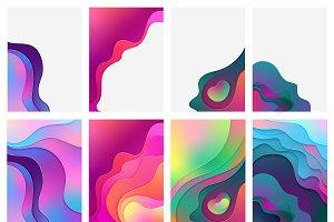 Gradient color paper waves posters