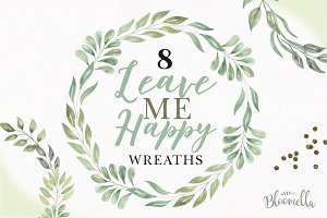 Leave Me Happy Leaves Wreaths Green