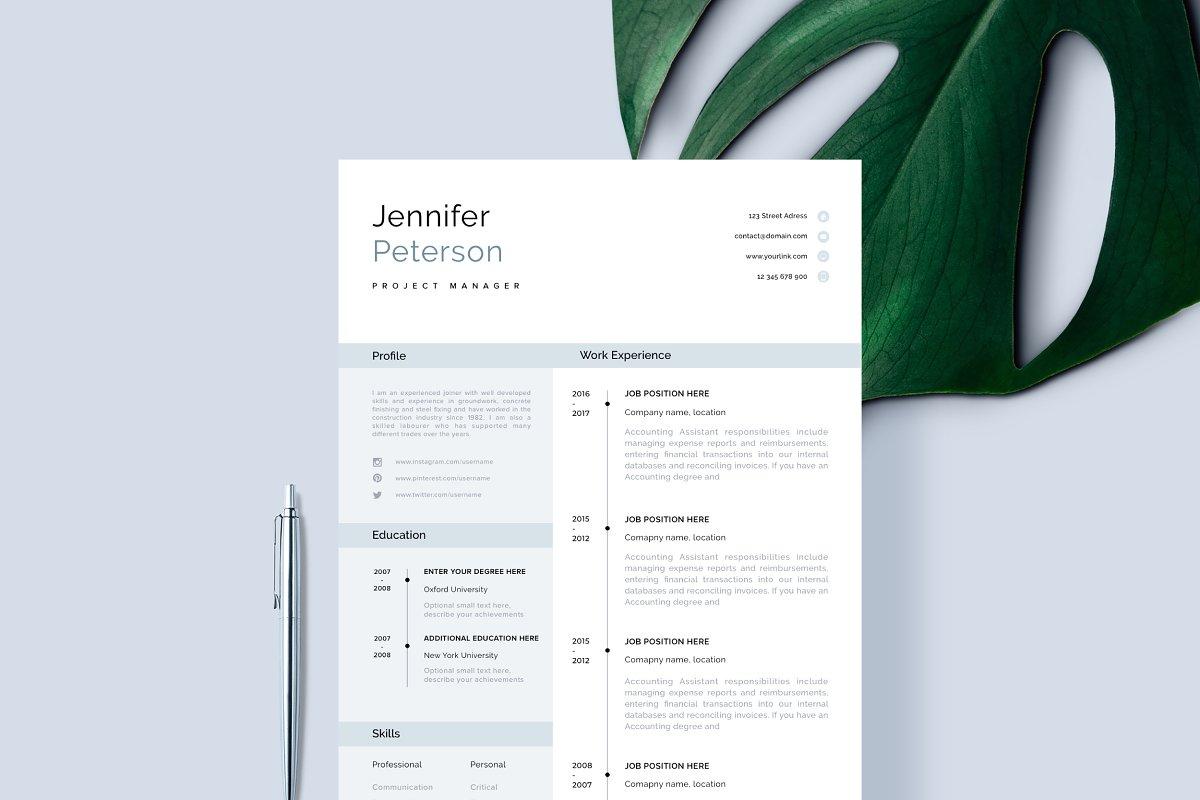Resume Template, CV + Cover Letter ~ Cover Letter Templates ...