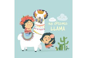 Funny llama alpaka with cute mexican