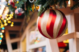 Closeup of Christmas ball from