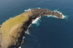Rocky island in the ocean.