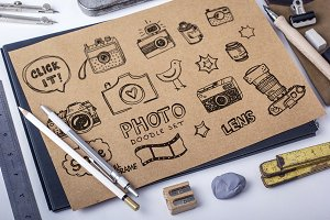 Retro photo doodles set + pattern