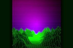 Retro futuristic background 80s styl