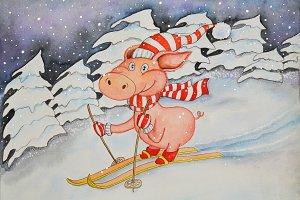 Holiday Pig watercolor illustration