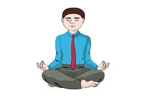 Businessman sits in a yoga pose