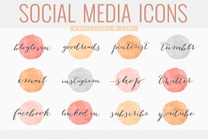 social media icons - watercolor text