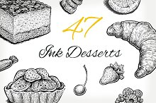 Set of vector and raster desserts
