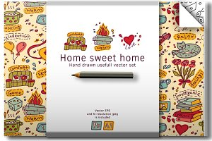 Housewarming. Home vector set