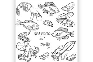 Set of sea food products