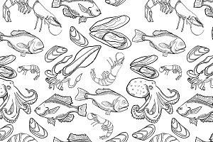 Pattern with set of sea food product