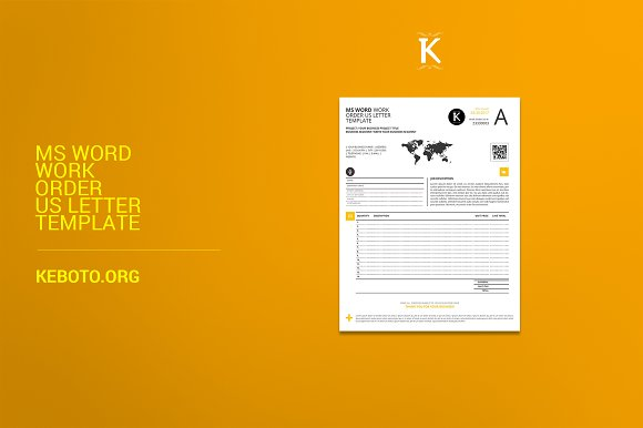 ms word work order us letter stationery