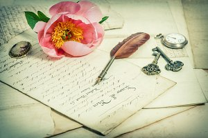Old handwritings and pink flower
