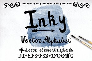 Ink Font, decor. Watercolor splash