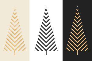 Festive Christmas Tree Vector Icons